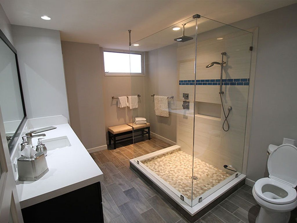 Large Bathroom with Centered Shower | Pride Construction Naples
